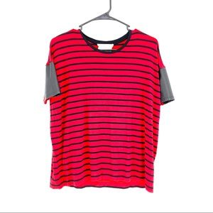 Two by Vince Camuto red black stripe shirt